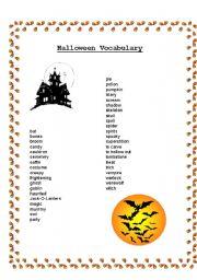English teaching worksheets: Halloween vocabulary