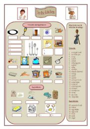 English Worksheet: In the kitchen Part 1 (Utensils and kitchen appliances, a few ingredients)
