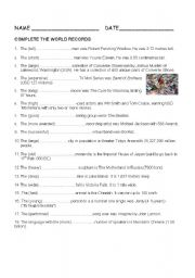 English Worksheet: WORLD RECORDS