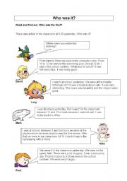 English Worksheets: Who was it?