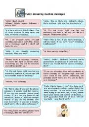 English Worksheet: funny answering machine messages