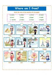 English Worksheet: COUNTRIES!