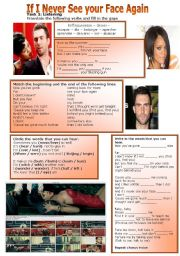 English Worksheets: SONG: If I never See Your Face Again - Maroon 5 feat. Rihanna