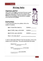 Worksheets Haiku Worksheet english teaching worksheets haiku poems writing a poem