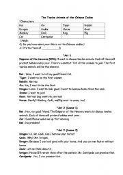 English Worksheet: Drama role play - 12 animals of the chinese zodiac