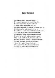 English Worksheets: Rhyme Worksheet