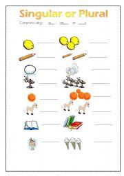 English teaching worksheets: Singular and plural
