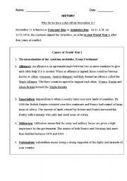 English worksheet: World War I