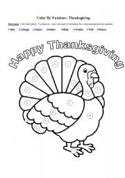 English worksheet: Color by Numbers: Thanksgiving