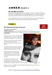 English Worksheets: ADELE SONG- BRIT AWARDS 08 (PART 1)
