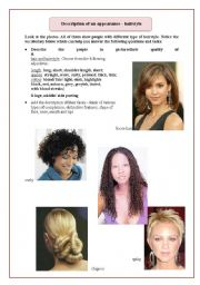 English Worksheets: Physical description 3 - hairstyle