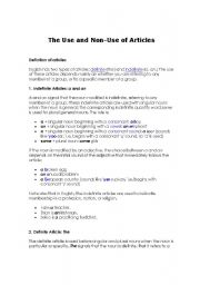 English Worksheets: THE  AND NO ARTICLE