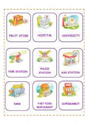 English Worksheet: PLACES CARDS FIRST SET