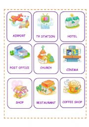 English Worksheet: PLACES CARDS 2ND SET