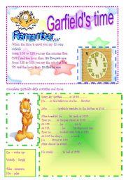 English Worksheet: GARFIELD�S TIME