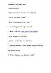 English worksheet: Create your own super hero