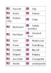 English Worksheet: Matching Exercise - English and American words