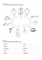 English Worksheet: Listening and Writing Test