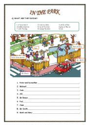 English Worksheet: IN THE PARK/ WHAT ARE THEY DOING?