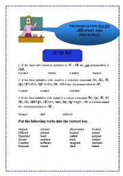 English Worksheet: - ED PRONUNCIATION RULES