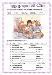 English Worksheets: THERE IS /THERE ARE - PREPOSITIONS - CLOTHES