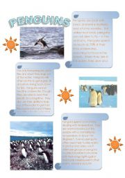 English Worksheet: Penguins = Interesting reading with follow up questions (2 pages)
