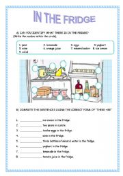 English Worksheet: IN THE FRIDGE / FOOD AND DRINKS