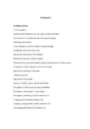 English Worksheet: Kindergarten Classroom Content