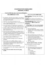 English Worksheet: Cold Weather Guidelines reading