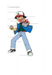 English Worksheet: the human body pokemon