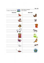 English Worksheets: This - That with animals