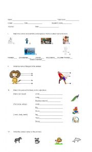 English Worksheets: Parts of the animals