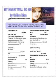 English Worksheets: MY HEART WILL GO ON BY CELINE DION