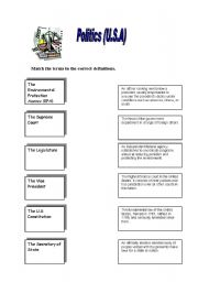 English Worksheet: Politics USA Match