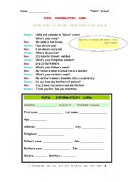 English Worksheets: Pupil info. card