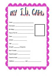 English Worksheets: My ID CARD