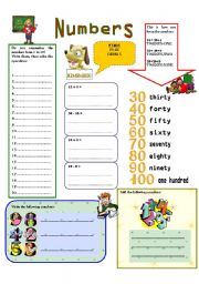 English Worksheet: Numbers