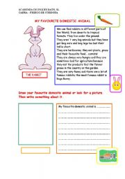 English Worksheet: My favorite domestic animal