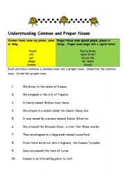 English Worksheet: Understanding Common and Proper Nouns