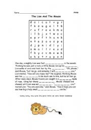 Printables The Lion And The Mouse Worksheets english teaching worksheets the lion and mouse fable