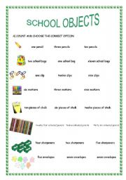 English Worksheet: school objects/ indefinite article/ numbers