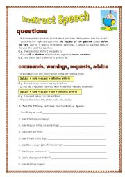 English Worksheet: Indirect Speech - questions and commands (04.09.08)