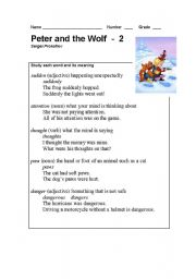 English Worksheet: Peter and the Wolf Part - 2