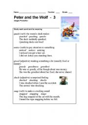 English Worksheet: Peter and the Wolf Part - 3