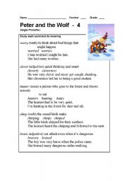 English Worksheet: Peter and the Wolf Part - 4