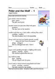 English Worksheet: Peter and the Wolf Part - 1