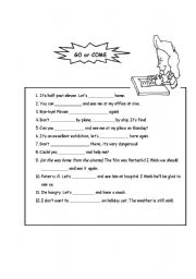 English Worksheets: Go or Come