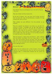 English Worksheets: Halloween traditions and history