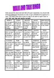 English Worksheet: Walk and Talk Bingo