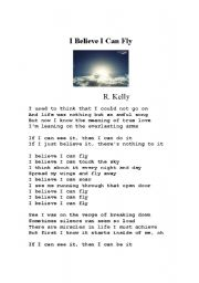 English Worksheet: I Believe I Can Fly